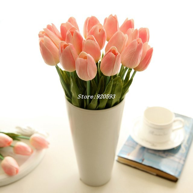 Free shipping 21PCS/LOT pu mini tulip flower real touch wedding flower artificial flower silk flower home decoration(China (Mainland))