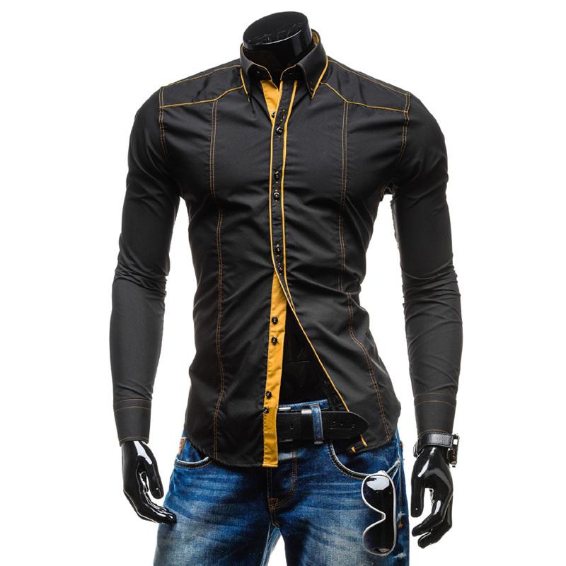 Men shirt long sleeve casual slim fit mens dress shirts solid color camisa social masculina camisas