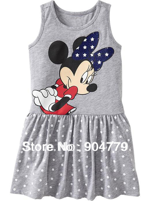 ()summer minine tank dresses baby girls clothing minnie casual cotton dress - WALLE BABYWEAR store