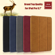 "For iPad Pro 9.7"" Smart Case 100% Original New Brand Ultra-thin Flip PU Leather Case For iPad 9.7 With Sleep/Wake up 2016 Newest(China (Mainland))"