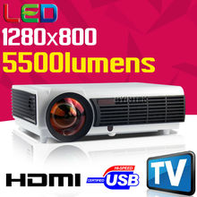 New Cheap 5500lumens 1280x800 HDMI Video Home Theater uNic Cinema LCD 1080P LED Full HD Projector Beamer holographic proyector(China (Mainland))