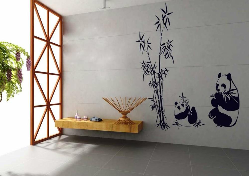 chinese panda wall decals bamboo sticker black wall decor