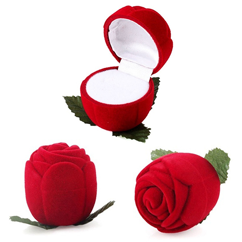Hot Red Rose Jewelry Box Wedding Ring Gift Case Earrings Storage Display Holder(China (Mainland))
