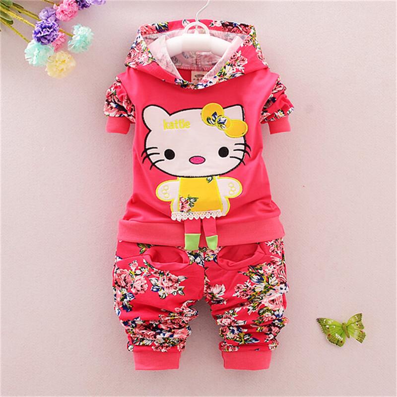 Cute Toddler Girl Clothing Sets Kids 2015 Spring Children Cotton Clothing Set Kitty Cats Baby Girls Tracksuits Hoodies + Pants(China (Mainland))