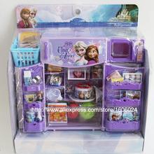 2015 Christmas Gift Girl  Plastic Kitchen Refrigerator Elsa Anna Cartoon Kids Pretend Play Toy Set(China (Mainland))