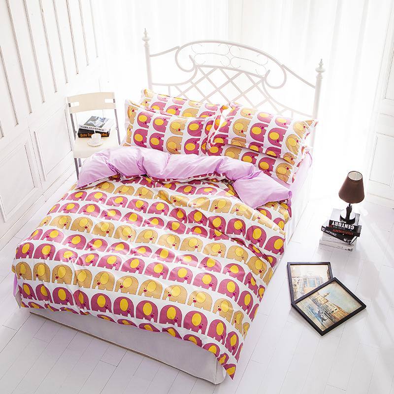 New pink elephant king queen full size bedding set jogo for Housse duvet