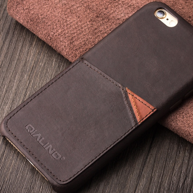 QIALINO for iPhone 6s 6 4.7 inch Luxury Bag Handmade Genuine Leather Phone Case Cover Shell w/ Card Holder