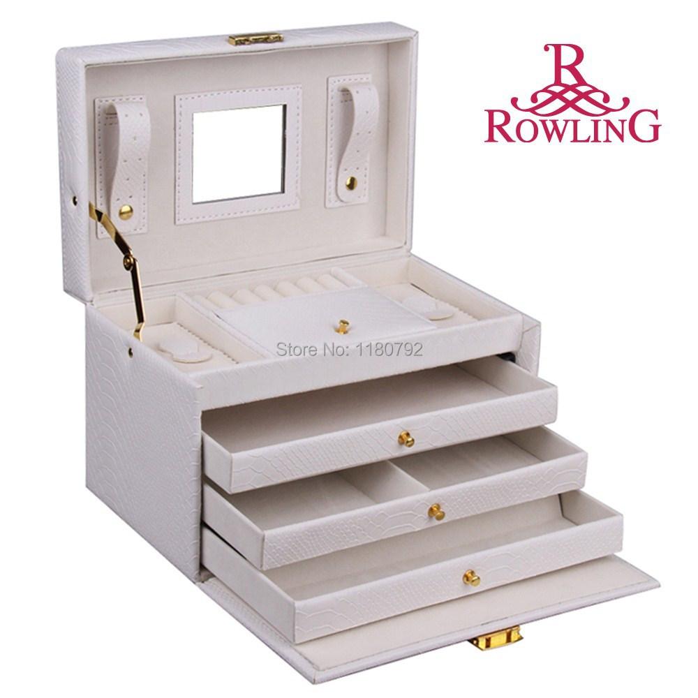 [ROWLING] WHITE Snake Faux Leather Jewelry Box Beads Ring Bracelet Storage Box Jewelry Organizer Gift Box Travel Case ZG091(China (Mainland))