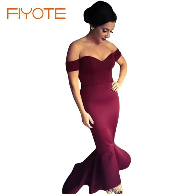 2015 Vestidos De Festa Maroon Off-shoulder Mermaid Jersey Evening Dress LC60171 New Arrival Formal Party Gowns Vestidos LargoОдежда и ак�е��уары<br><br><br>Aliexpress