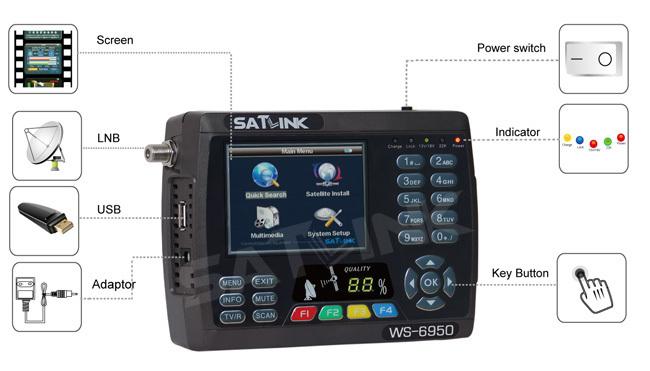 Satlink WS6950 Satellite Finder ,Satlink WS6950 Digital satellite meter Free Shipping(China (Mainland))