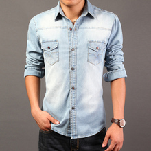 casual free shipping 2016 spring and autumn burst models hot Korean men denim long-sleeved shirt tide(China (Mainland))