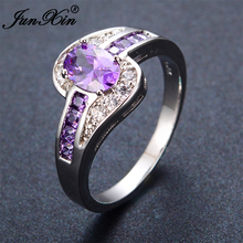 JUNXIN Female Purple Oval Ring Fashion White & Black Gold Filled Jewelry Vintage Wedding Rings For Women Birthday Stone Gifts(China (Mainland))