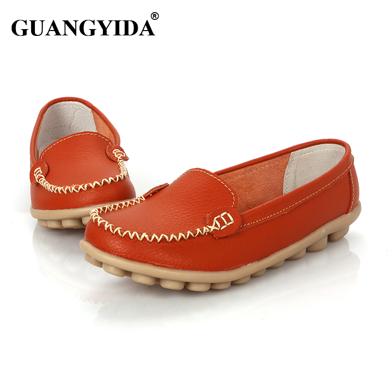 Promotions!!New 2015 Women Flats 100% Genuine Leather Shoes Slip-on Ballet Comfort Shoes woman 8 Colors moccasins plus size 41<br><br>Aliexpress