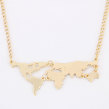 New Fashion Gold Plated World Map Pendant Necklace For Women Fine Jewelry 8675
