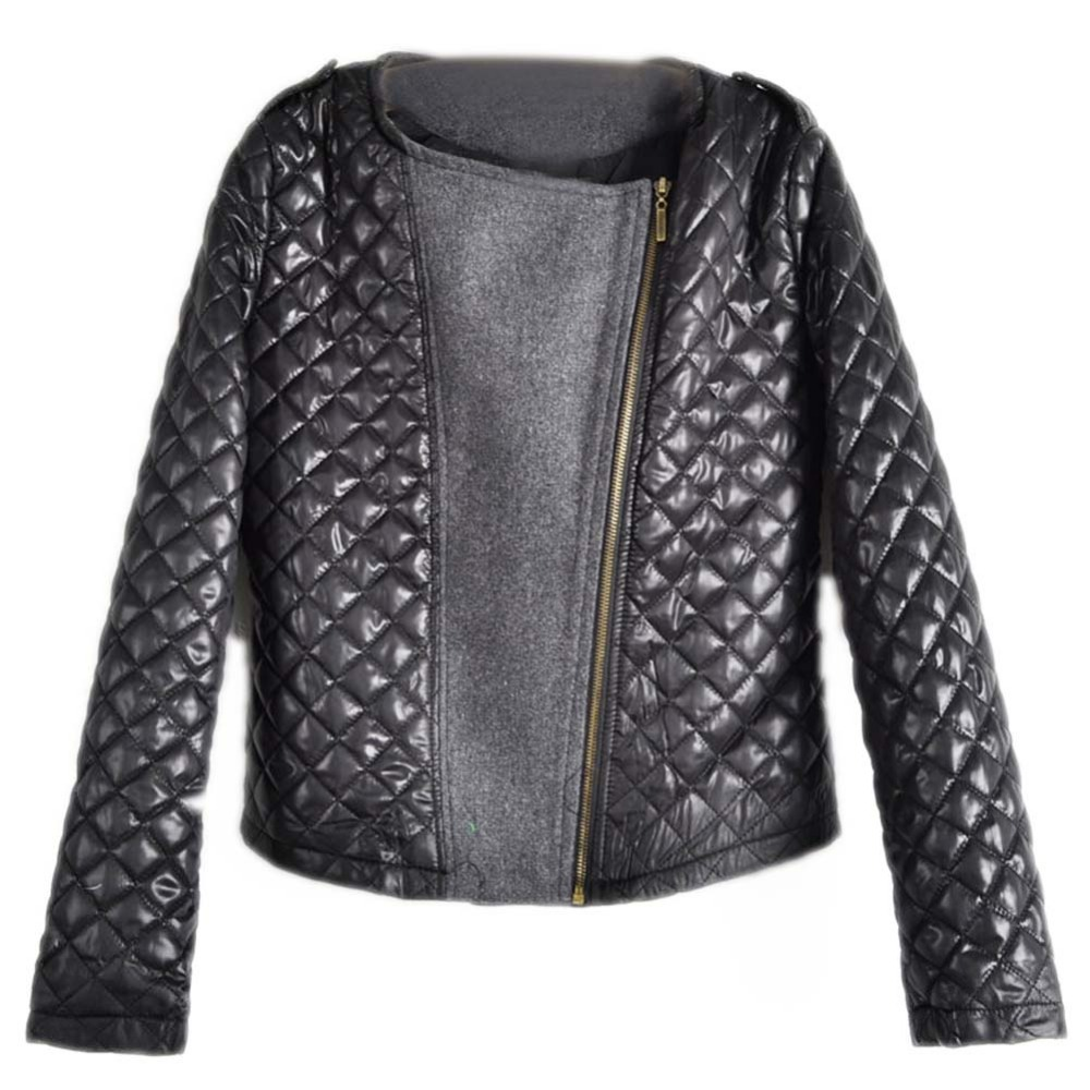 2015 Fashion Bestselling spring Autumn Women's Fashion Cool Long Sleeve  Quilted Asymmetric Zip Jacket Women Casual Coat Casacos(China (Mainland))