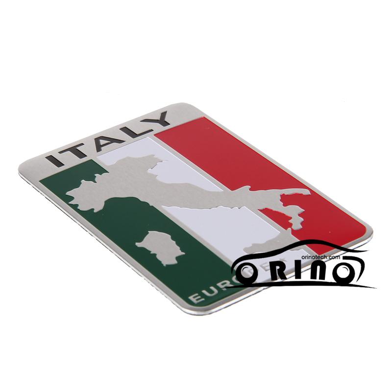 Alluminio italia italia mappa bandiera sticker per nissan ford chevrolet dodge skoda volkswagen kia bmw fiat toyota infiniti audi jaguar(China (Mainland))