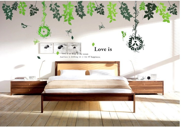 LC205 grenn Big vine Bird cage Kids vinyl wall sticker for kids rooms home decor decals adesivos de parede stickers(China (Mainland))