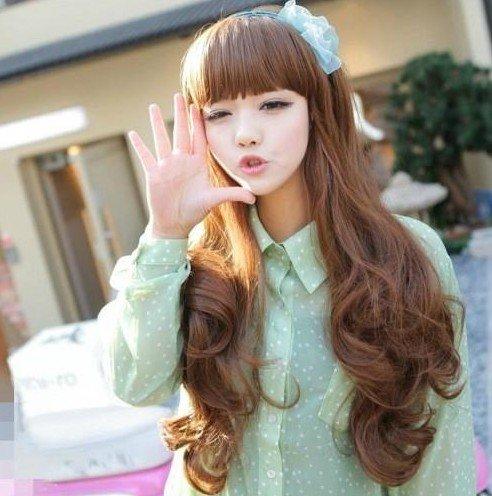 Wig Makers Distributors Warehouse 2015 New Fashion Cheap Japanese Synthetic Hair Long Wavy Girls Blonde Cute Kawaii Wig+free cap(China (Mainland))
