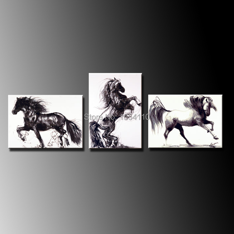 Wall Art Black Horse : Framed modern wall art decor handmade abstract black horse