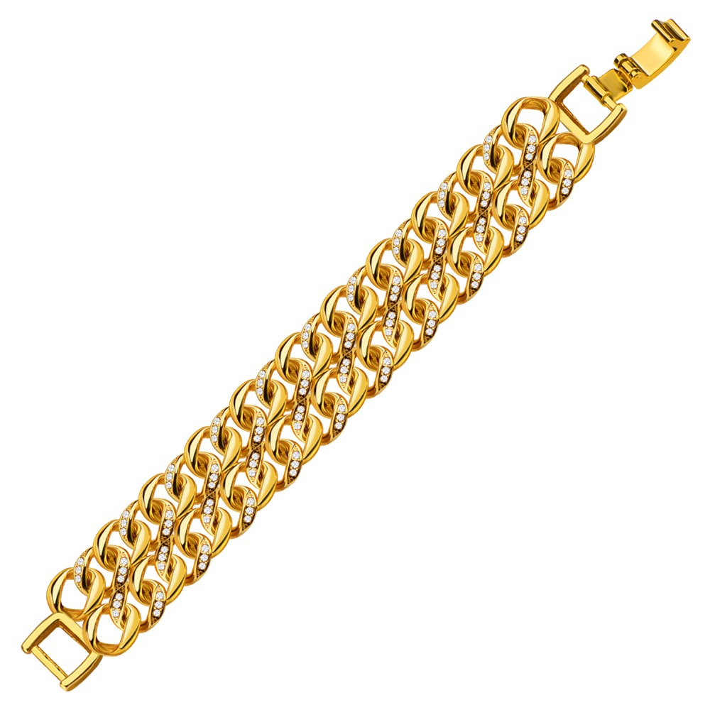 Europe Exaggerated New Trendy 18K Gold Plated Thick Double Loop Gold Bracelet Men/Women Crystal Jewelry B40209(China (Mainland))