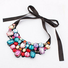 2016 New Fashion Vintage Jewelry Rhinestone Necklaces & Pendants Chokers Short Necklaces For Women Jewelry Bijouterie Wholesale(China (Mainland))