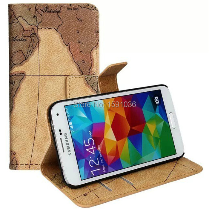 2015 Top Fashion Time-limited Cell Phones High Quality Flip Map Leather Case For Samsung Galaxy S5 Mobile Phone Protective(China (Mainland))