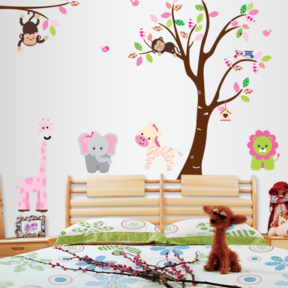 Forest big tree cartoon animals monkey elephant giraffe for Decoration autocollant mural