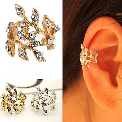 1PC New Fashion 2014 Women's Punk  Luxury Gold  Tone Earring Crystal Leaf Ear Cuff Warp Clip Earrings for Women Jewelry Free(China (Mainland))