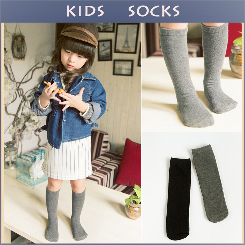Гаджет  Baby Top Fashion Pure Color Kids Socks Soft 100% Cotton Kawaii Boys Girls Knee Long Socks Children