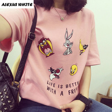 Buy Cartoon Print T Shirt Women 2017 Summer Short Sleeve Cotton Tops Fashion Loose Tees O-Neck Harajuku T-Shirt Female for $4.36 in AliExpress store