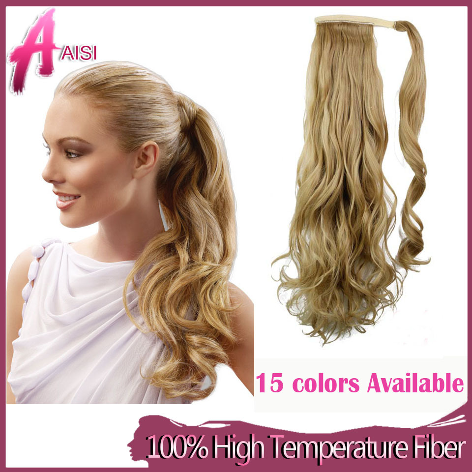 22 55cm 15 Color Synthetic Long Wavy Clip In Wrap Around Ponytail
