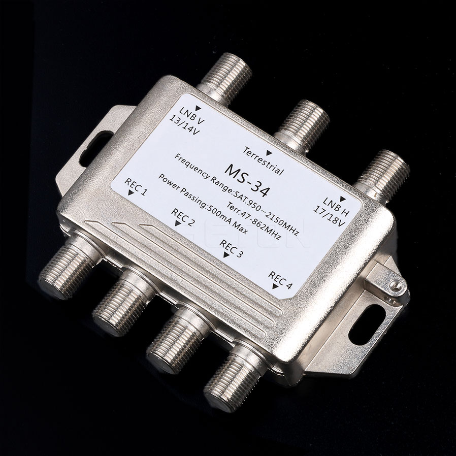 Newest MS34EZ 3x4 Satellite MultiSwitch Splitter FTA TV LNB Switch Cascade satellite 3 in 4 Multiswitch For DVB-S2 DVB-T2(China (Mainland))