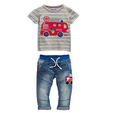 Boys fashion clothing set Car pattern short sleeve stripes T-Shirt + Cars embroidery pattern Washed jeans toddler boys clothing(China (Mainland))