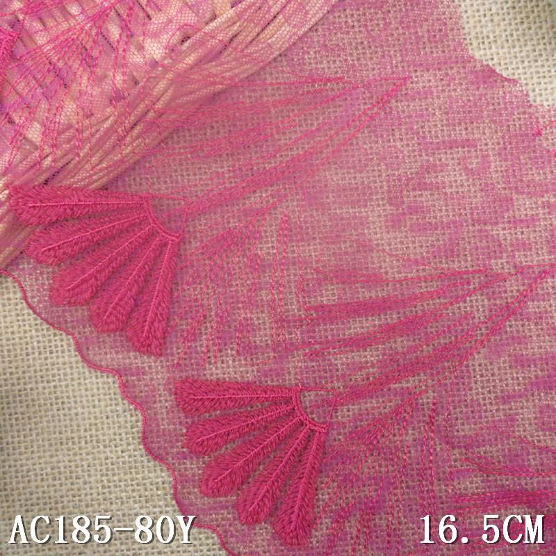 1KG 80Yard 16.5cm Tulle Embroidered Lace Trim Embroidery Voile Guipure Lace Fabric Dentelle Sewing Accessories Rose Pink AC0510(China (Mainland))