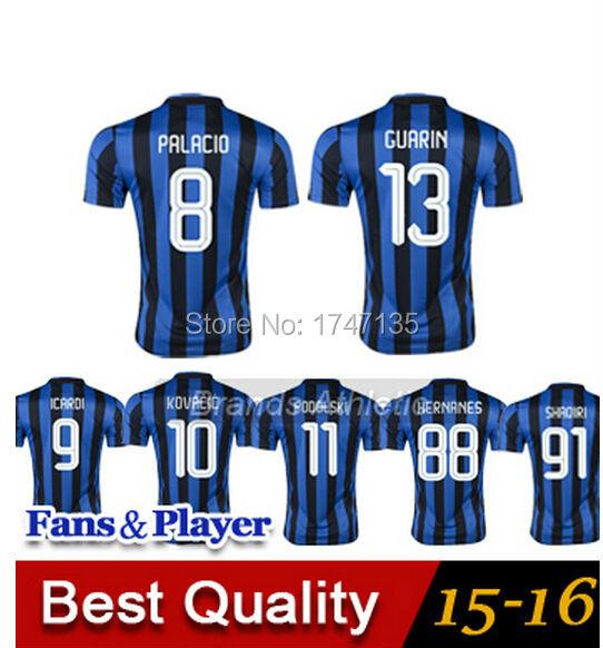 AAA+ thai quality 2016 inter soccer jersey 15 16 KOVACIC HERNANES VIDIC SHAQIRI MILAN ICARDI GUARIN football shirts(China (Mainland))