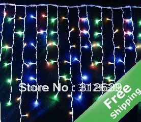 Solar Curtain lights+80 colorful LED lights+100% solar power+CE&ROHS(China (Mainland))