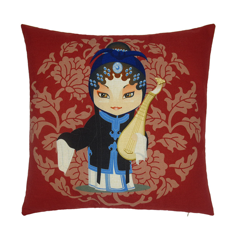 IKEA Fashion Style Cotton Pillow Cover breathable Style Chinese Peking Opera pattern Cushion Cover Home Sofa Wedding Decoration(China (Mainland))