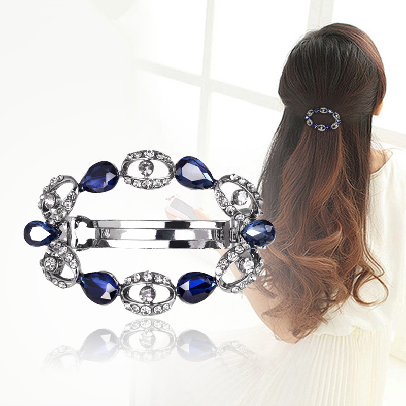 Fashion blue wreath hair clip for women luxuruous girls hair clips accessories trendy vintage hairs accessoires bow jewelry(China (Mainland))