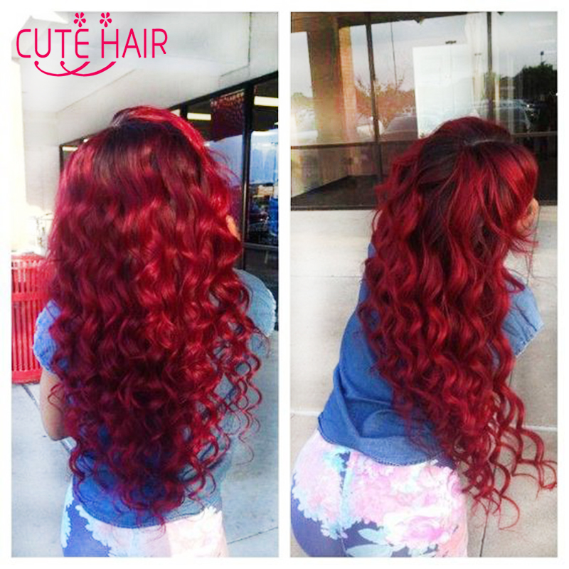 Ombre 2 Tone Brazilian Hair Body Wave Ombre Brazilian Hair Weave Bundles 1B/Red queen hair Products 8A++ Ombre Virgin Hair(China (Mainland))
