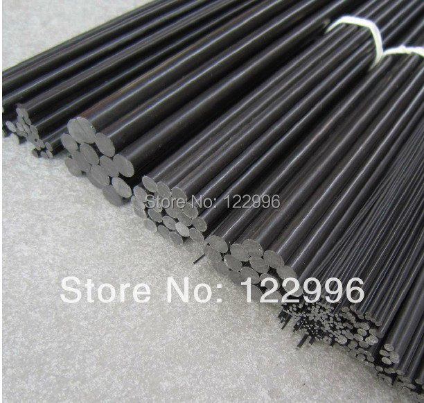 0.6mm(dia)*1000mm carbon fiber pultrusion solid rod for kite bar or airplane model