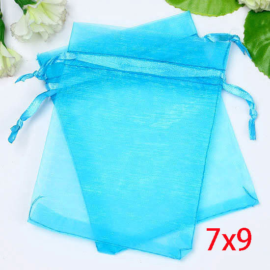 Storage Bags Organza Bags 7x9cm Wedding Jewelry Packaging Pouches Aqua Blue home storage & organizatio 100pcs/lot(China (Mainland))