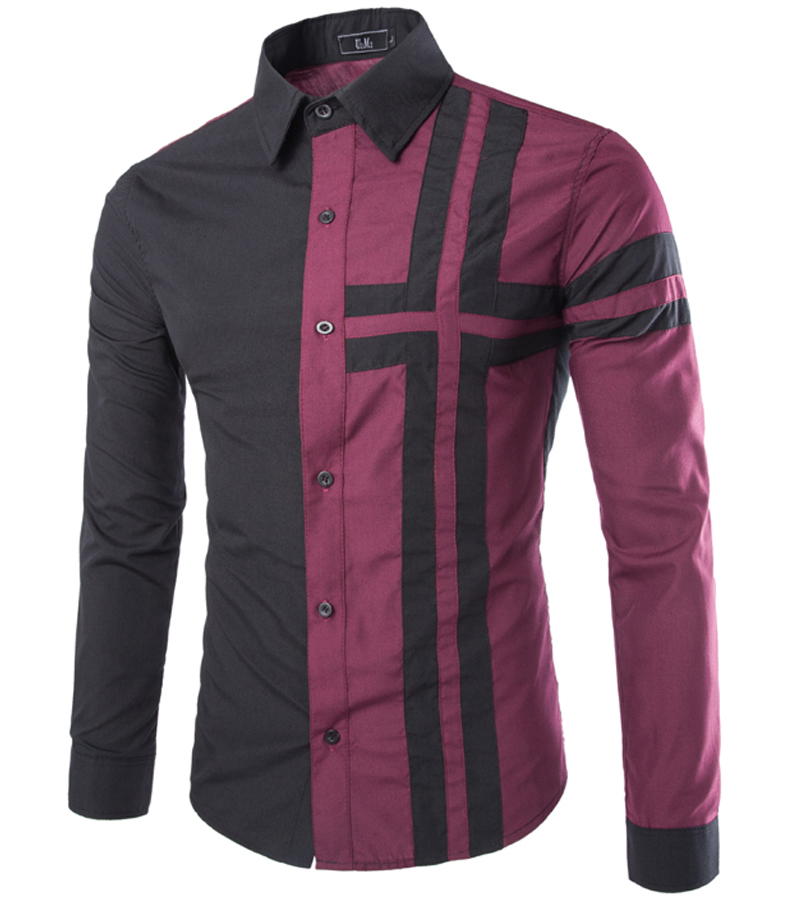 Freeshiping spring autumn patchwork casual shirts long for Wine colored mens dress shirts