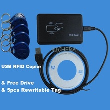 USB 125khz RFID Read Writer Duplicator Copier Duplicate Compatible EM4100 EM4305 T5577  Rewritable Card  & 5pcs Writable Tag