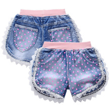 2016 Dot printed kid short pants for girl lace flower jeans with elastic waist summer short denim trousers girls shorts clothing