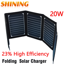 Sunpower 20W Dual USB Portable Outdoor Backpack Solar Charger For Tablet Folding Solar Panel Charger Battery 23%High Efficiency(China (Mainland))