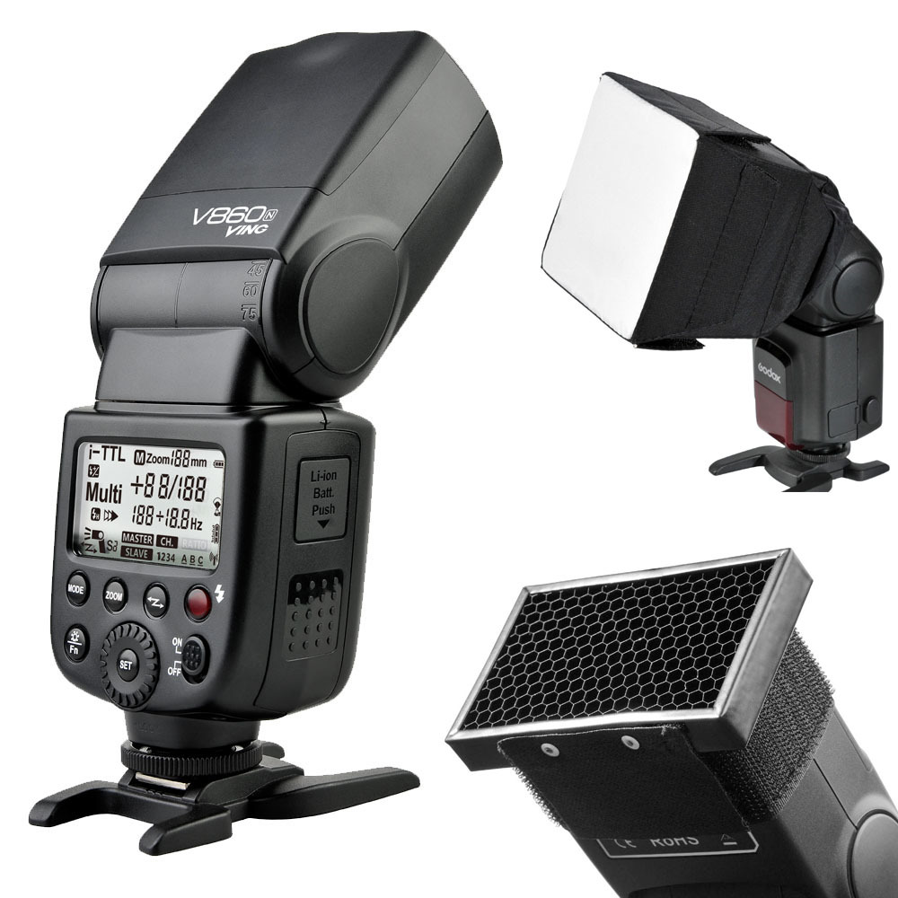 Godox V860N New Li-ion Battery Camera Flash Speedlite With Softbox And Honeycomb Grid Studio Flash Kit For Nikon Camera<br><br>Aliexpress