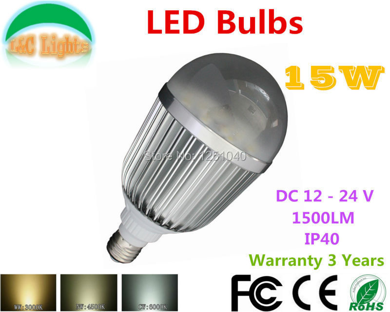 DC Boost Constant Current Drive 15W LED Bulbs DC 12V 24V High Power LED Lamps 1500LM LED Home Lighting CE RoHS E27 Light Bulbs(China (Mainland))
