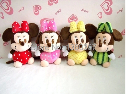Free Shipping 4pcs/lot 20cm Mickey Mouse mickey and Minnie mouse plush toys with suction pendant(China (Mainland))