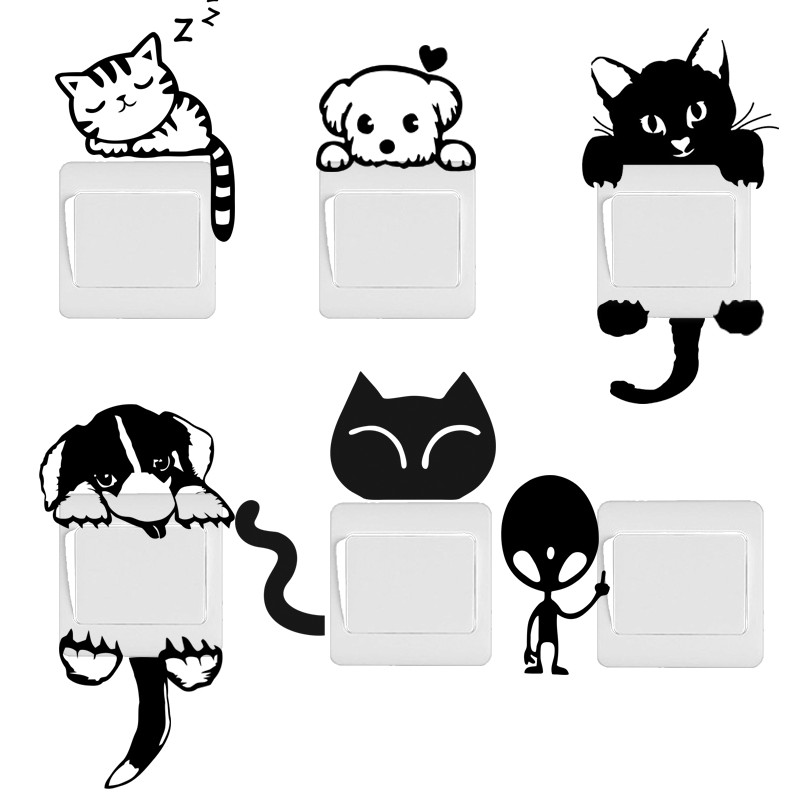 DIY Funny Cute Cat Dog Switch Stickers Wall Stickers Home Decoration Bedroom Parlor Decoration(China (Mainland))