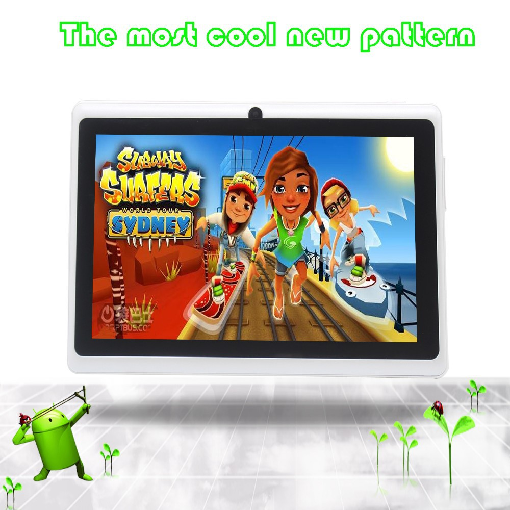 Suitable for promotion 7inch android tablets pc for kids and babys tab 1G 16G becutiful pattern wifi otg dual camera white color
